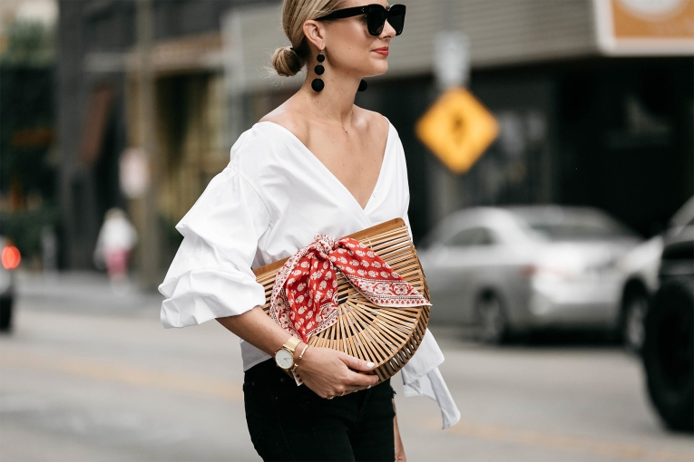 Fashion-Jackson-Club-Monaco-White-Ruffle-Sleeve-Wrap-Top-Cult-Gaia-Ark-Bag-Red-Bandana-Bauble-Bar-Crispin-Earrings
